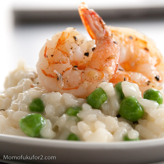 Miso Butter Risotto with Pan-Roasted Prawns and Peas | Cooking ...